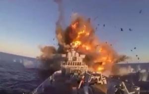 بالفيديو شاهد لحظة اصابة المدمرة الايرانية بصاروخ اطلق عن طريق الخطا
