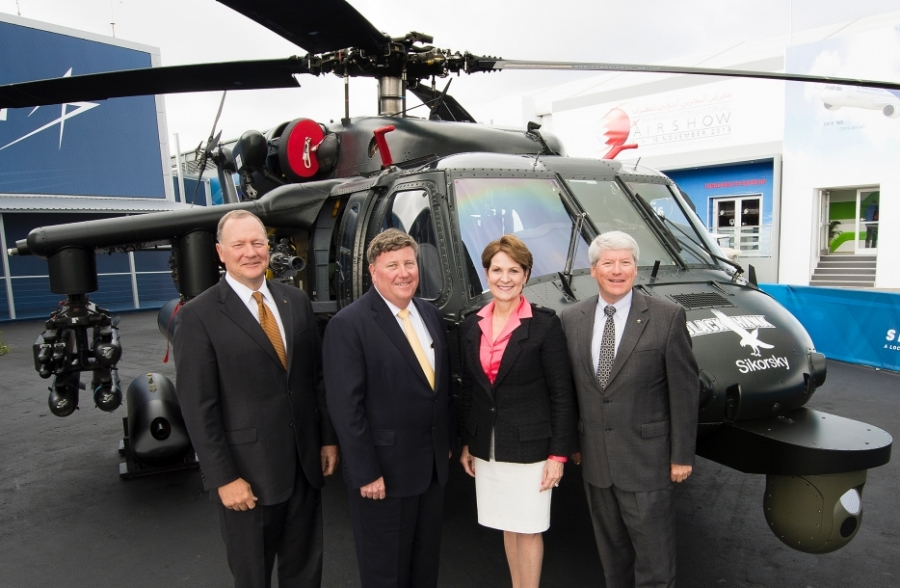 Lockheed Martin Executives Unveil Armed BLACK HAWK Helicopter at Farnborough International Airshow
